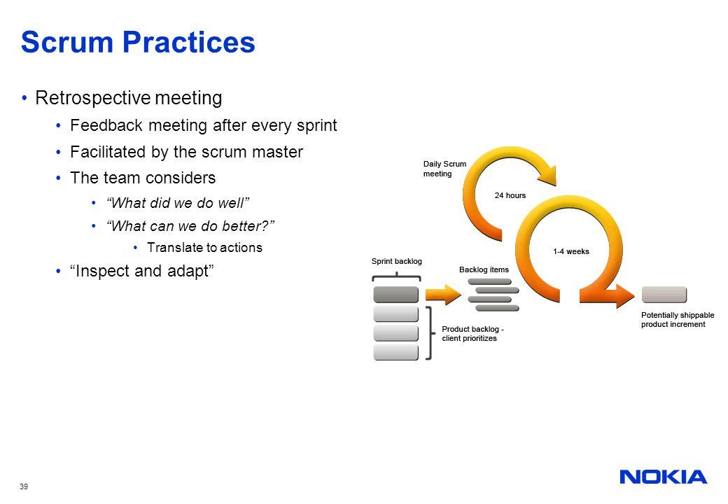 Scrum Practices Retrospective meeting