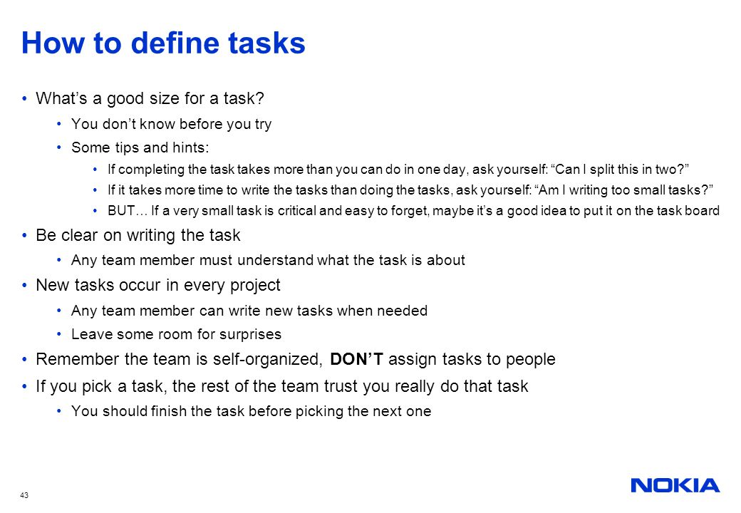 How to define tasks What's a good size for a task