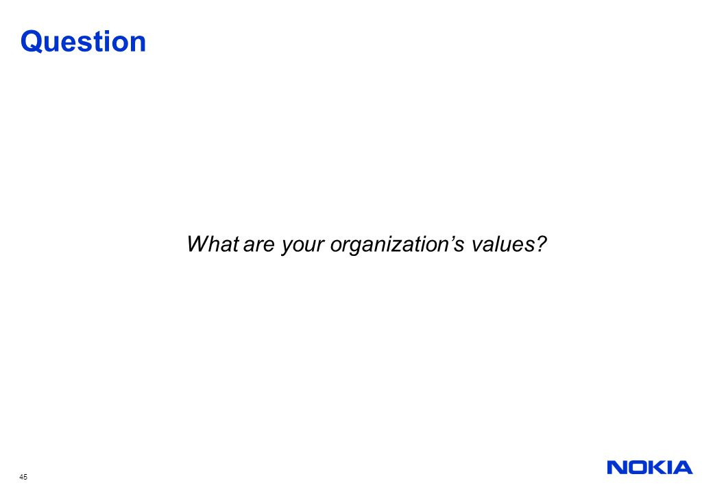 What are your organization's values