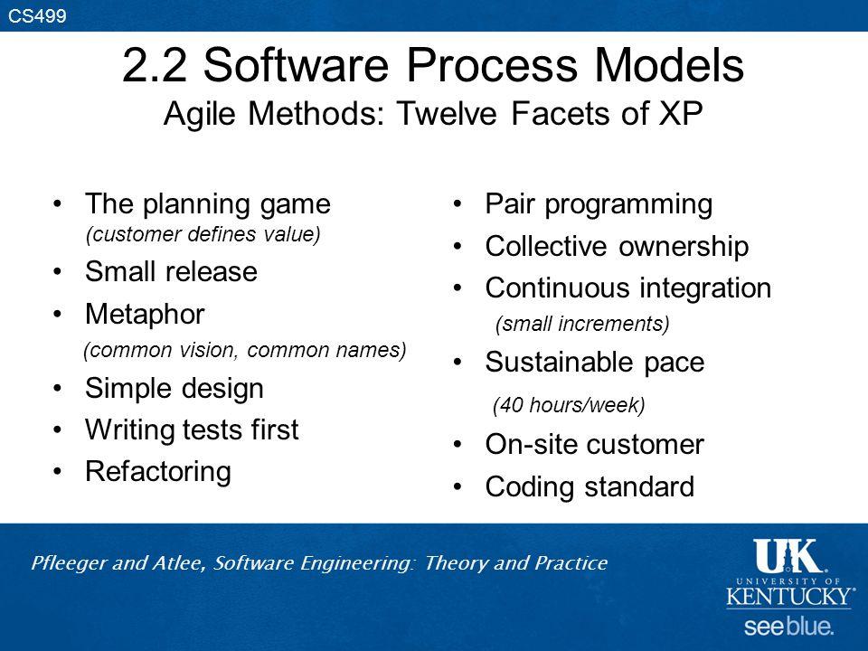2.2 Software Process Models Agile Methods: Twelve Facets of XP