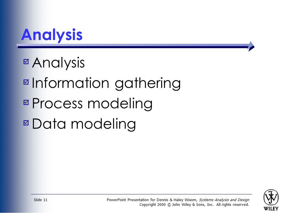 Analysis Analysis Information gathering Process modeling Data modeling