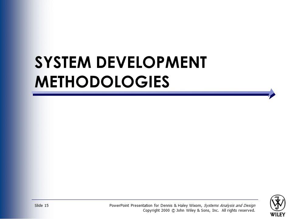 SYSTEM DEVELOPMENT METHODOLOGIES