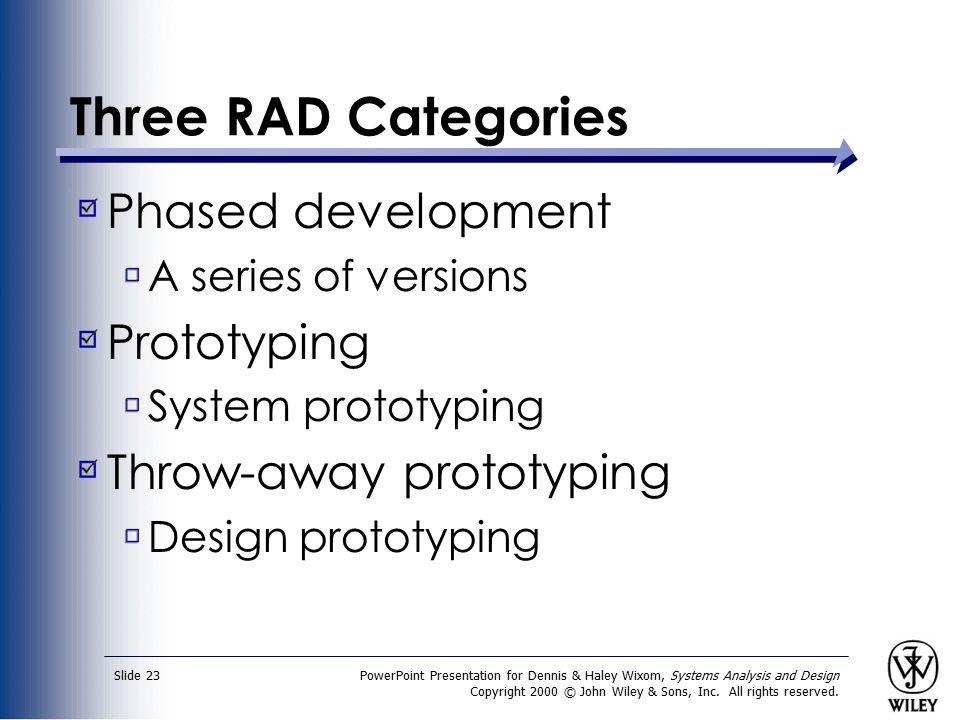 Three RAD Categories Phased development Prototyping