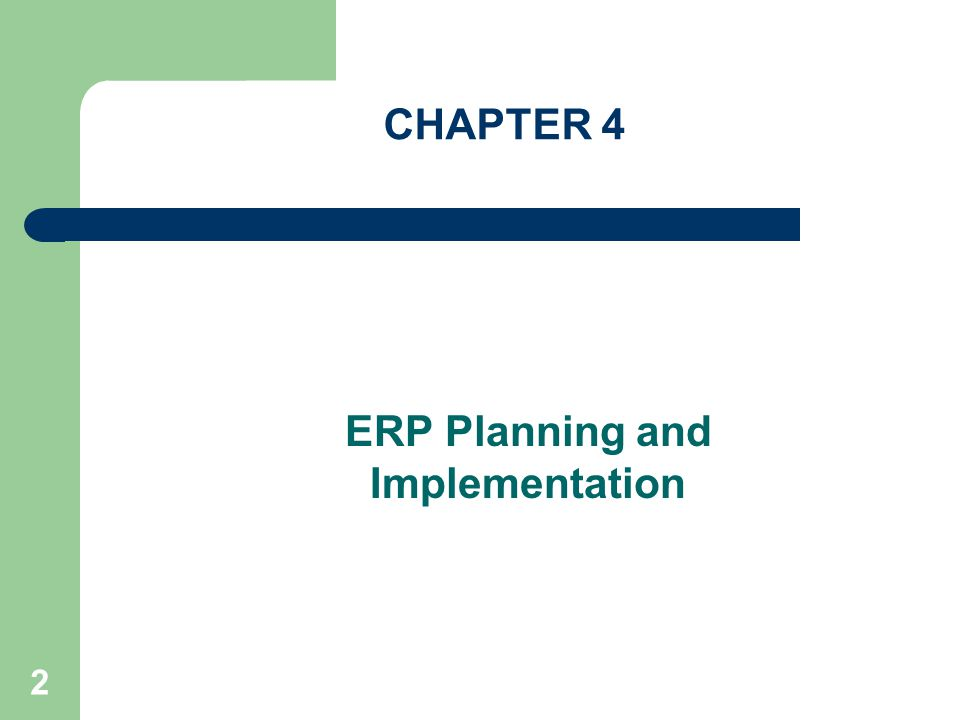 ERP Planning and Implementation