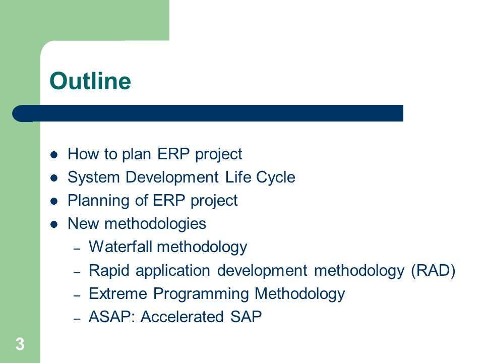 Outline How to plan ERP project System Development Life Cycle