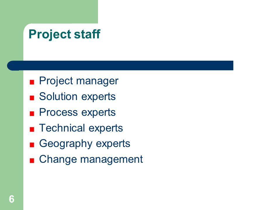 Project staff Project manager Solution experts Process experts