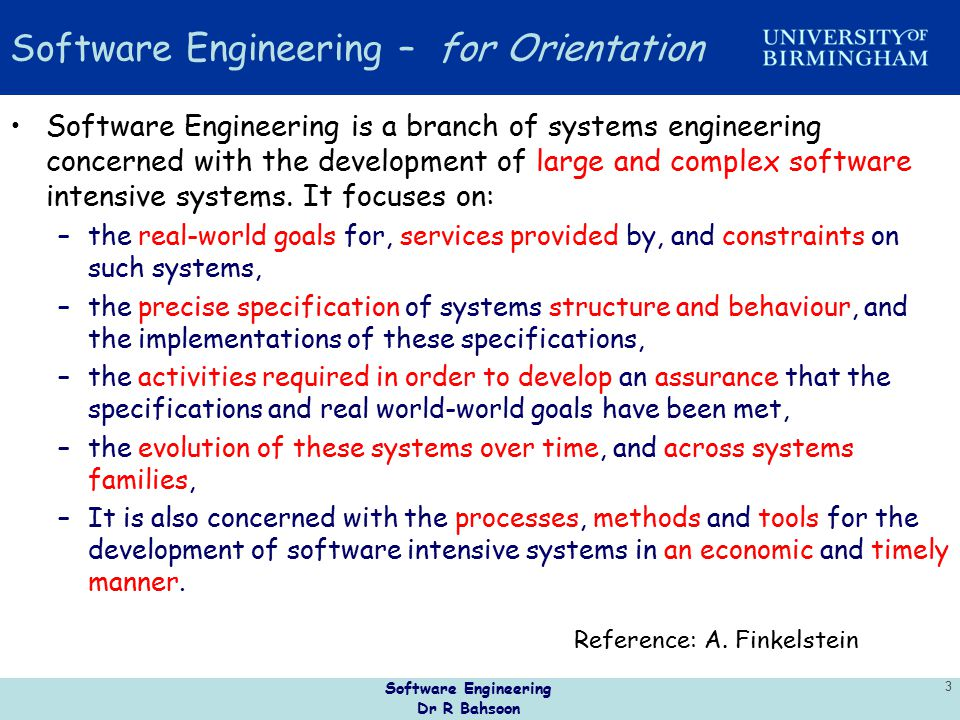 Software Engineering – for Orientation