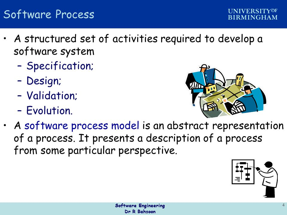 Software Process A structured set of activities required to develop a software system. Specification;