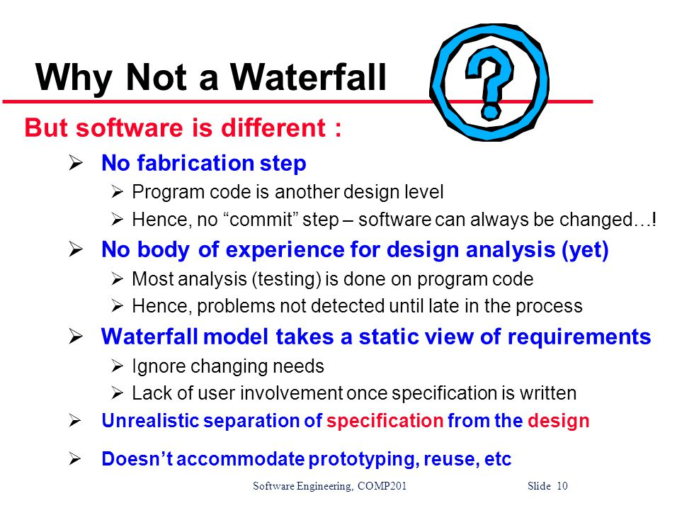 Why Not a Waterfall But software is different : No fabrication step
