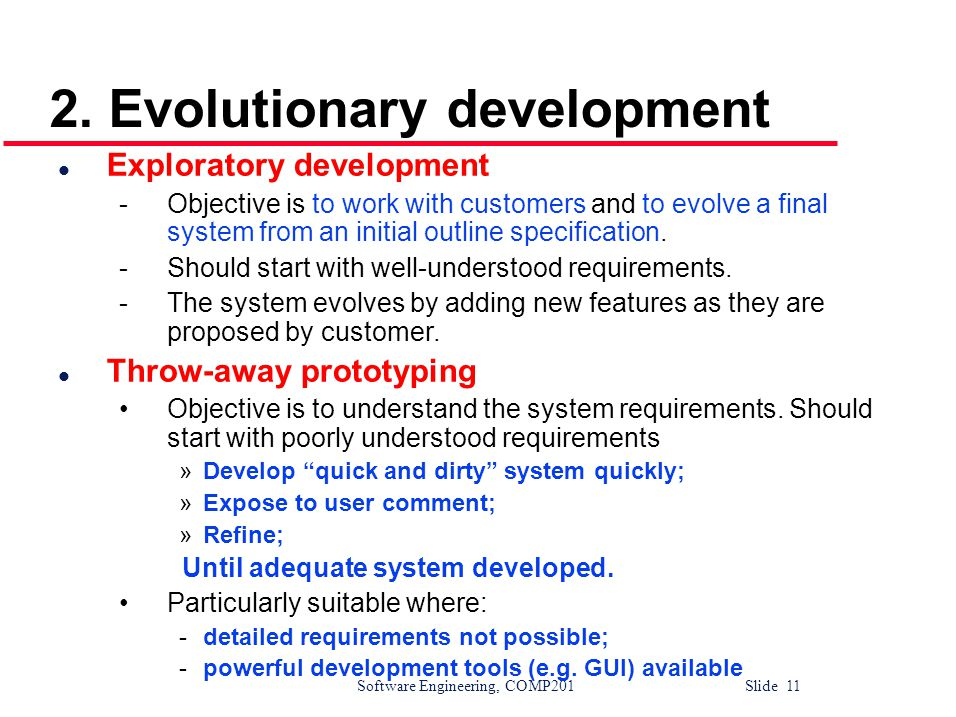 2. Evolutionary development