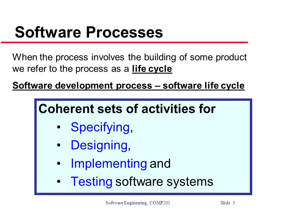 Software Processes Coherent sets of activities for Specifying,