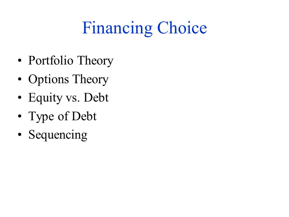 Financing Choice Portfolio Theory Options Theory Equity vs. Debt