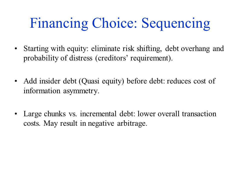 Financing Choice: Sequencing