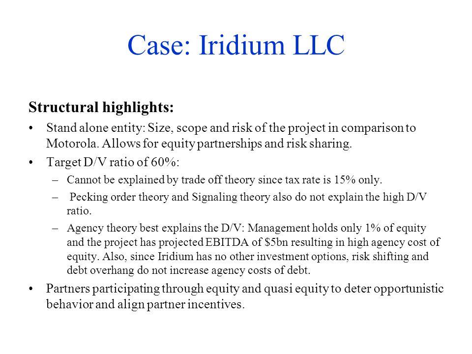 Case: Iridium LLC Structural highlights: