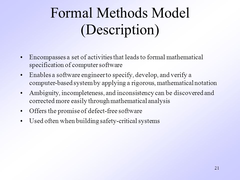 Formal Methods Model (Description)