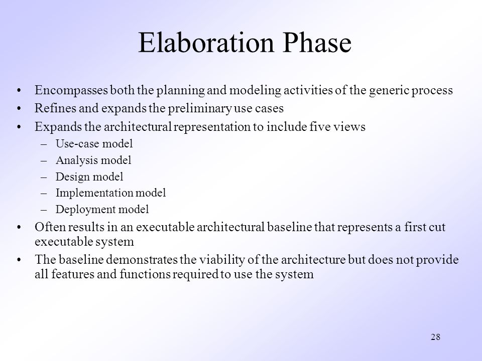 Elaboration Phase Encompasses both the planning and modeling activities of the generic process. Refines and expands the preliminary use cases.