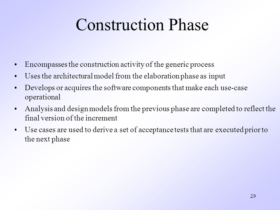 Construction Phase Encompasses the construction activity of the generic process. Uses the architectural model from the elaboration phase as input.