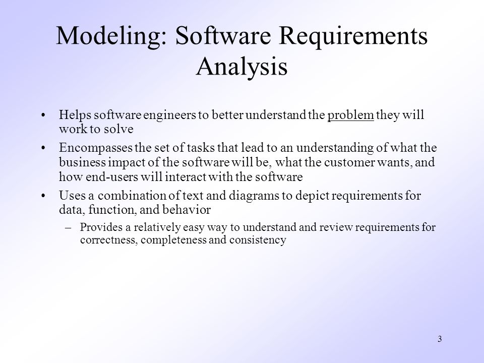 Modeling: Software Requirements Analysis
