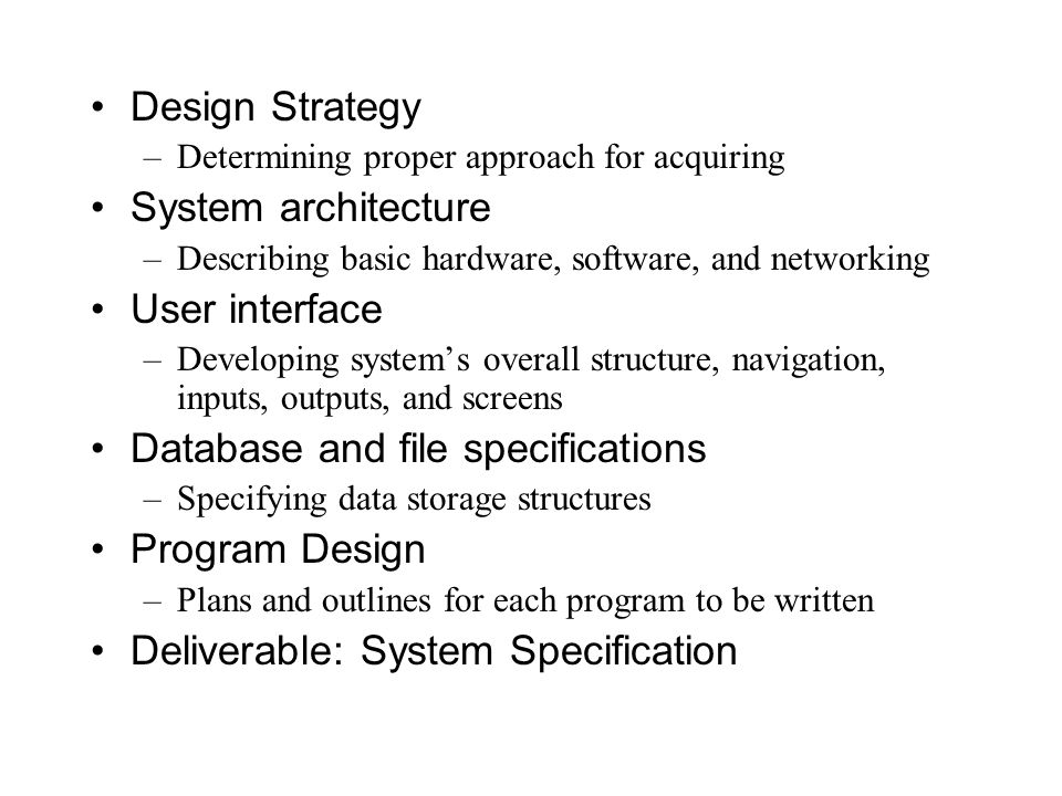 Database and file specifications Program Design