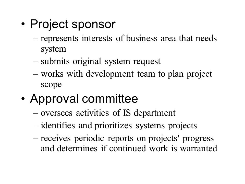 Project sponsor Approval committee