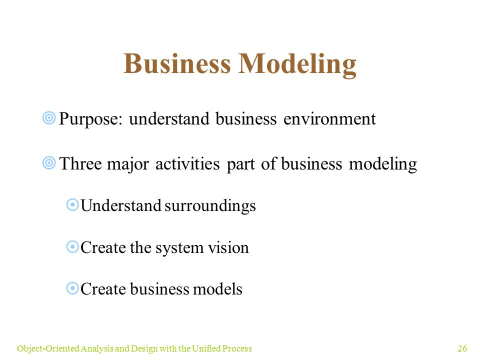 Business Modeling Purpose: understand business environment