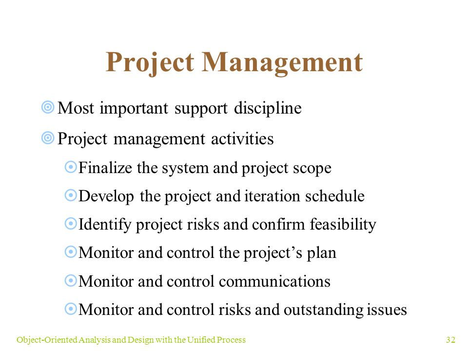 Project Management Most important support discipline