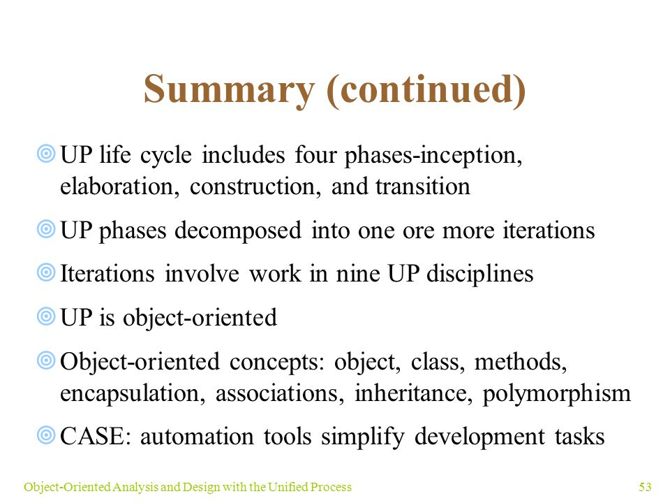 Summary (continued) UP life cycle includes four phases-inception, elaboration, construction, and transition.
