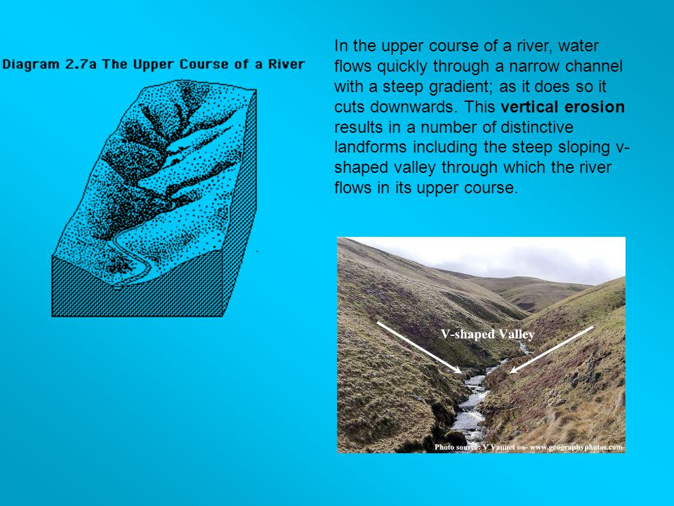 In the upper course of a river, water flows quickly through a narrow channel with a steep gradient; as it does so it cuts downwards.
