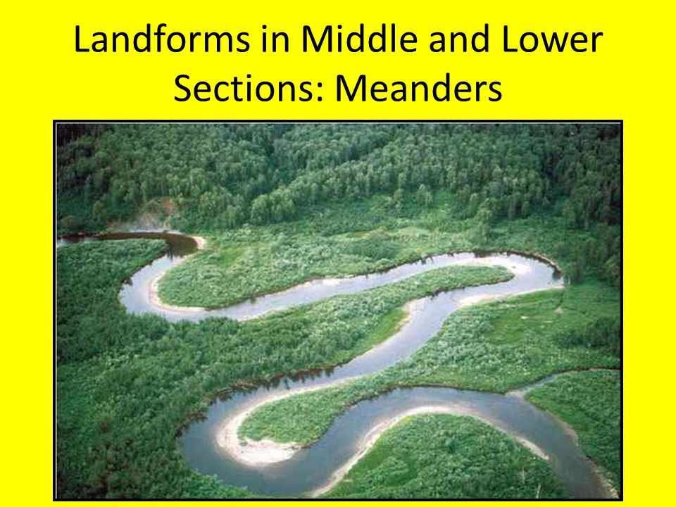Landforms in Middle and Lower Sections: Meanders