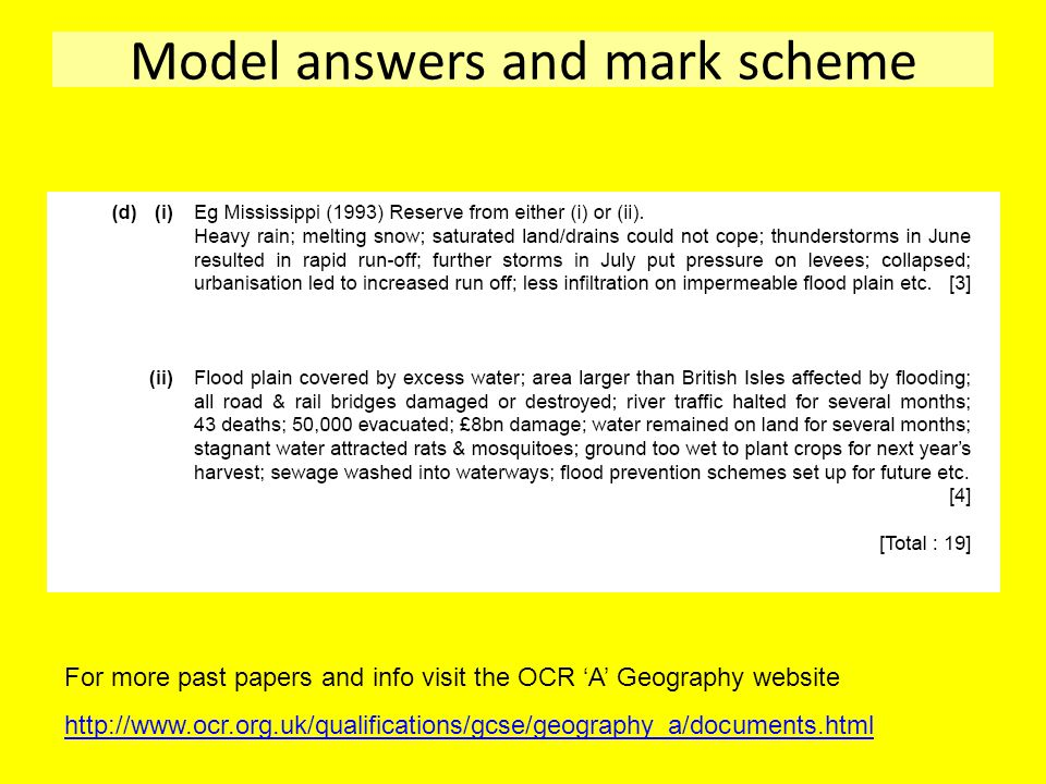 Model answers and mark scheme