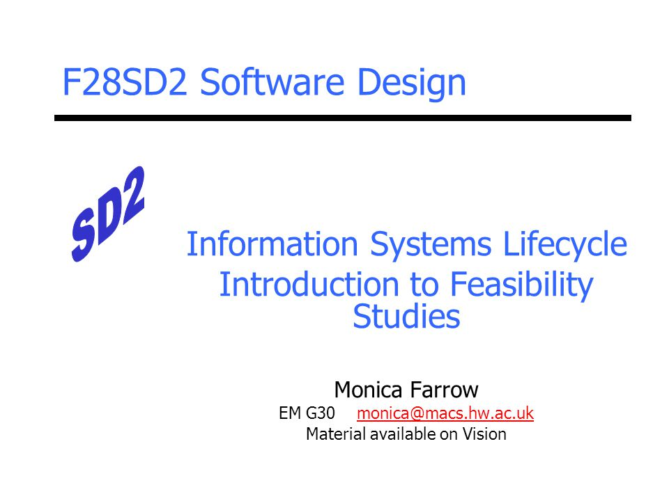 F28SD2 Software Design Information Systems Lifecycle