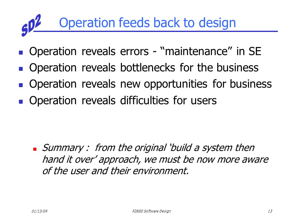 Operation feeds back to design