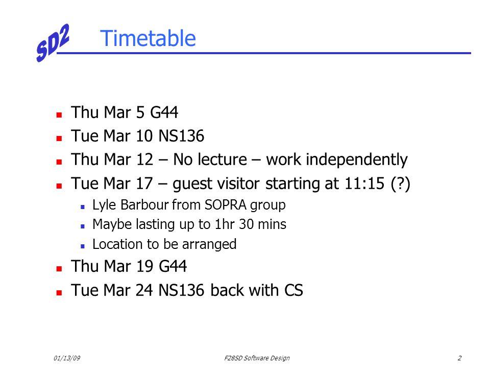 Timetable Thu Mar 5 G44 Tue Mar 10 NS136