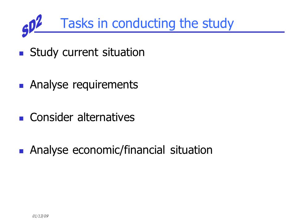 Tasks in conducting the study