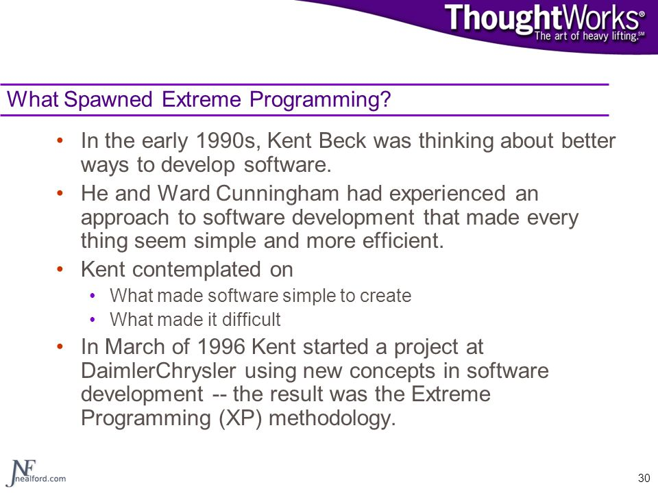 What Spawned Extreme Programming