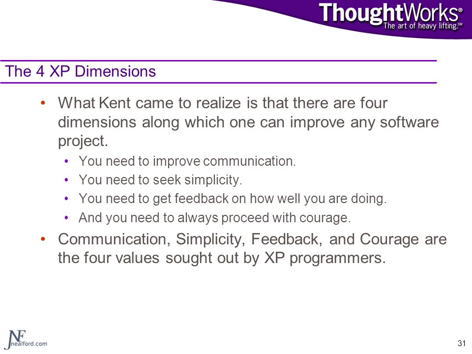 The 4 XP Dimensions What Kent came to realize is that there are four dimensions along which one can improve any software project.