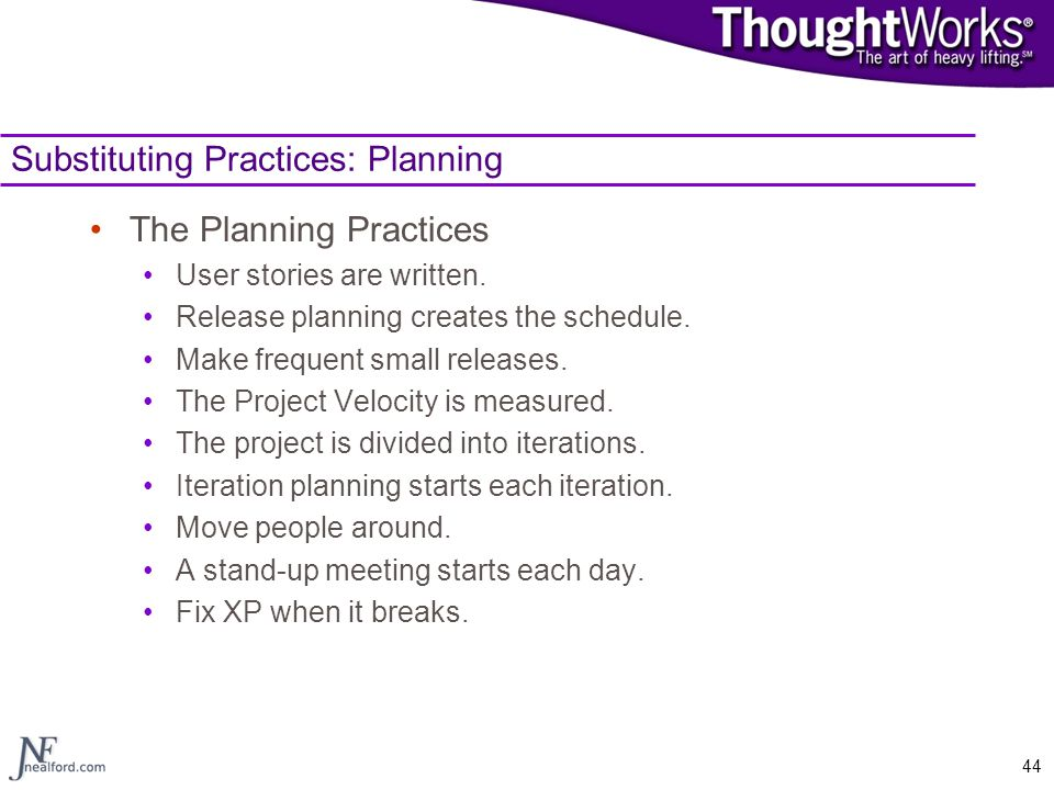 Substituting Practices: Planning