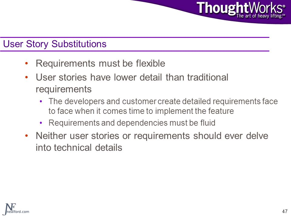 User Story Substitutions