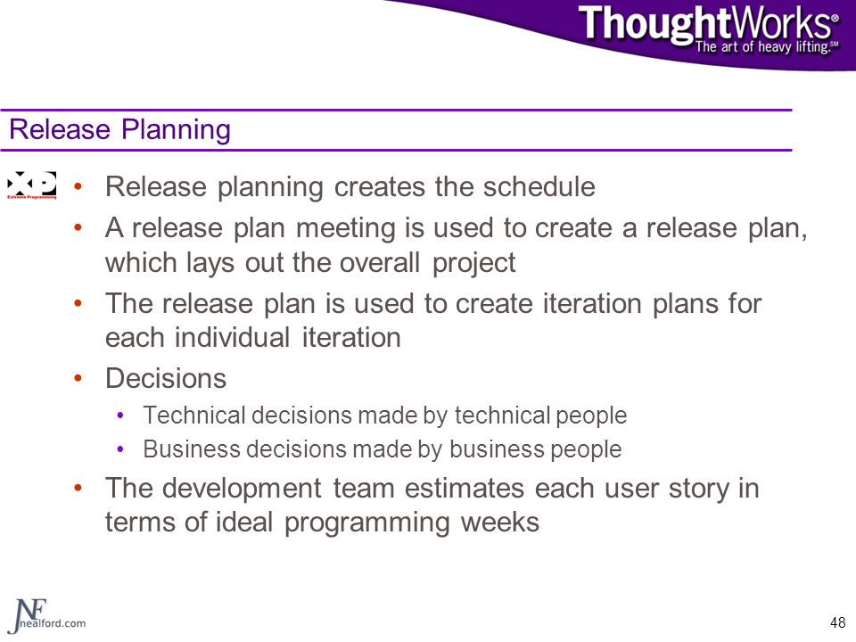 Release planning creates the schedule