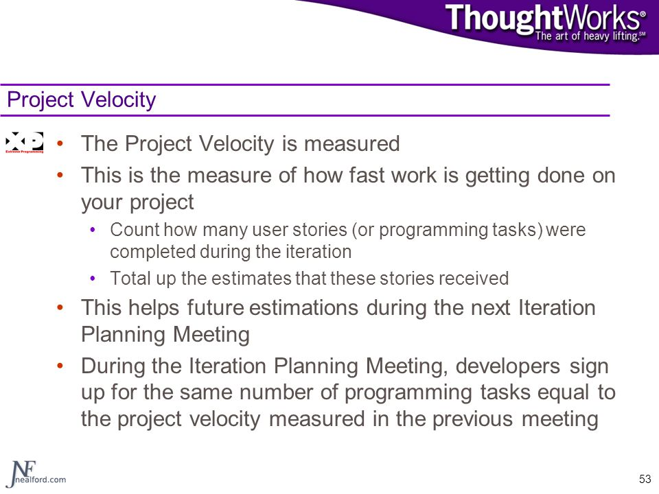 The Project Velocity is measured