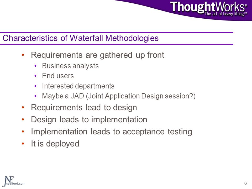 Characteristics of Waterfall Methodologies