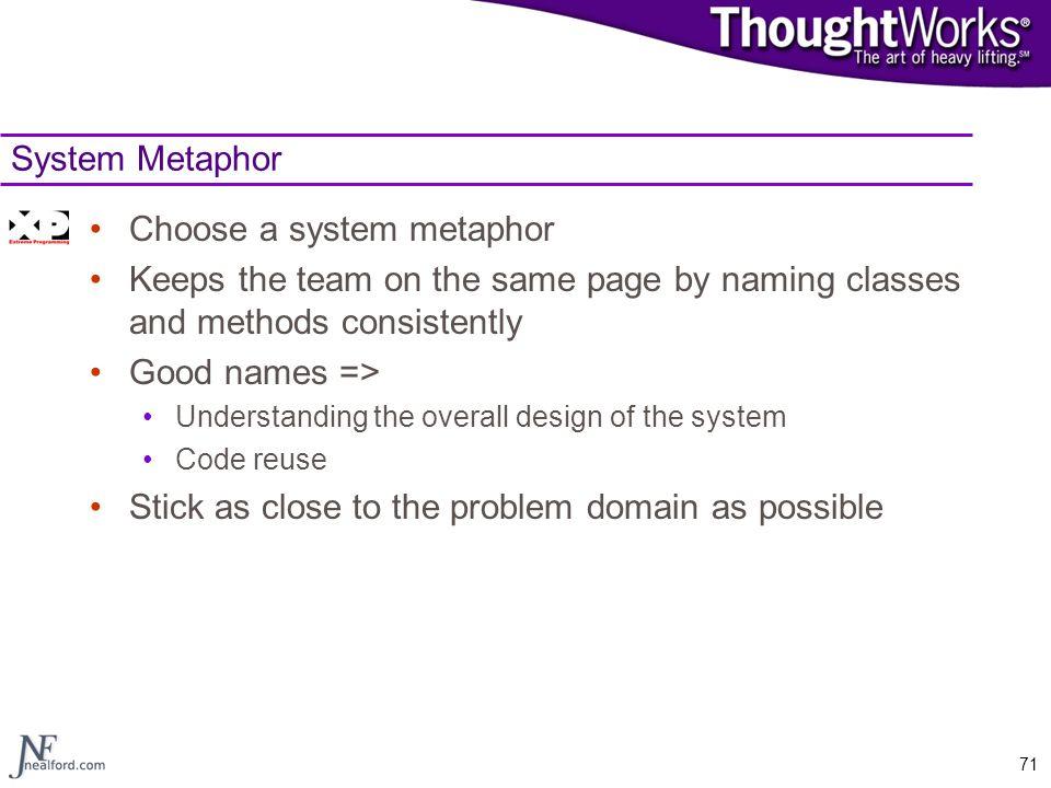 Choose a system metaphor