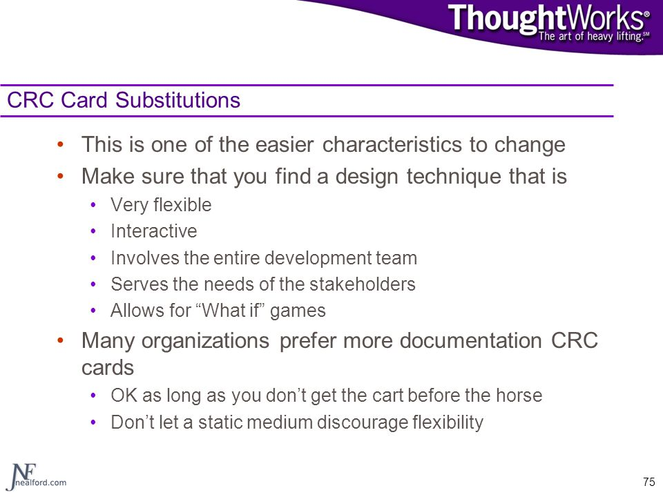 CRC Card Substitutions