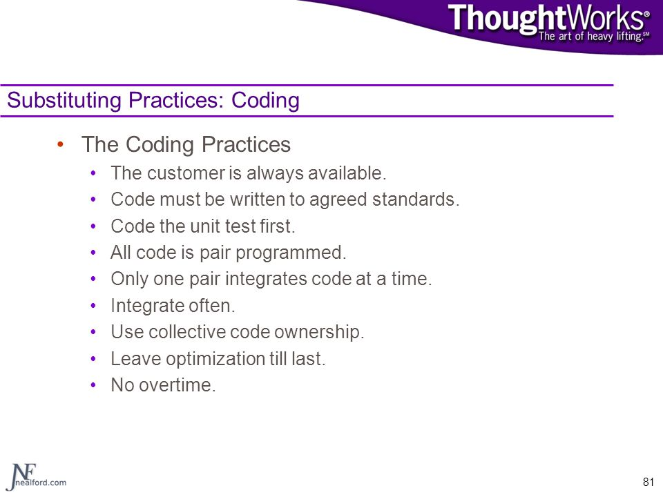 Substituting Practices: Coding