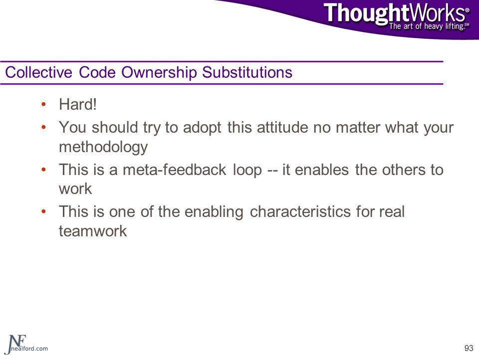 Collective Code Ownership Substitutions