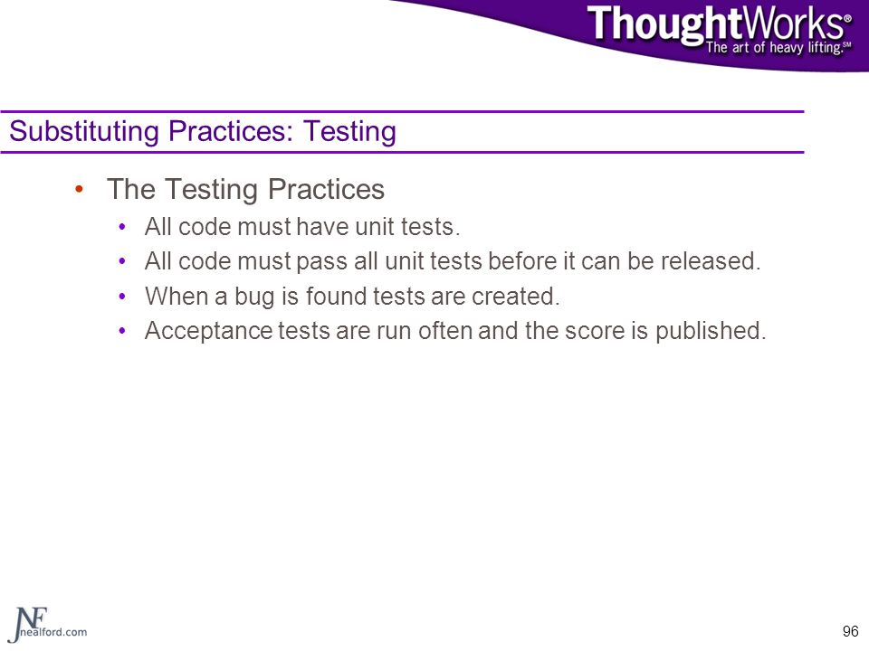 Substituting Practices: Testing