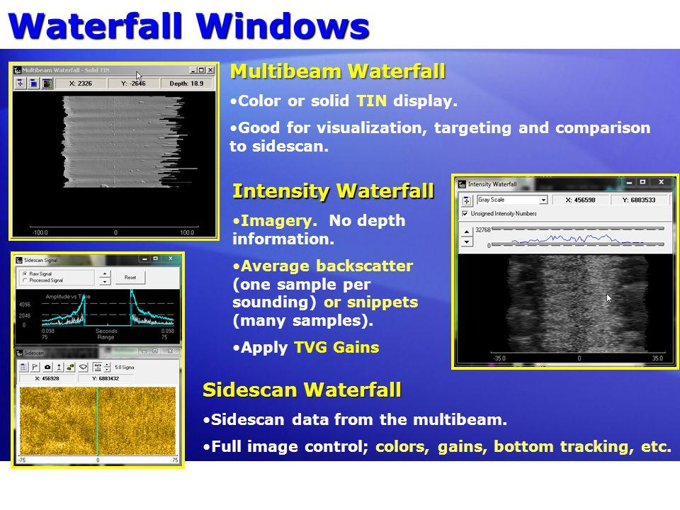 Waterfall Windows Multibeam Waterfall Intensity Waterfall