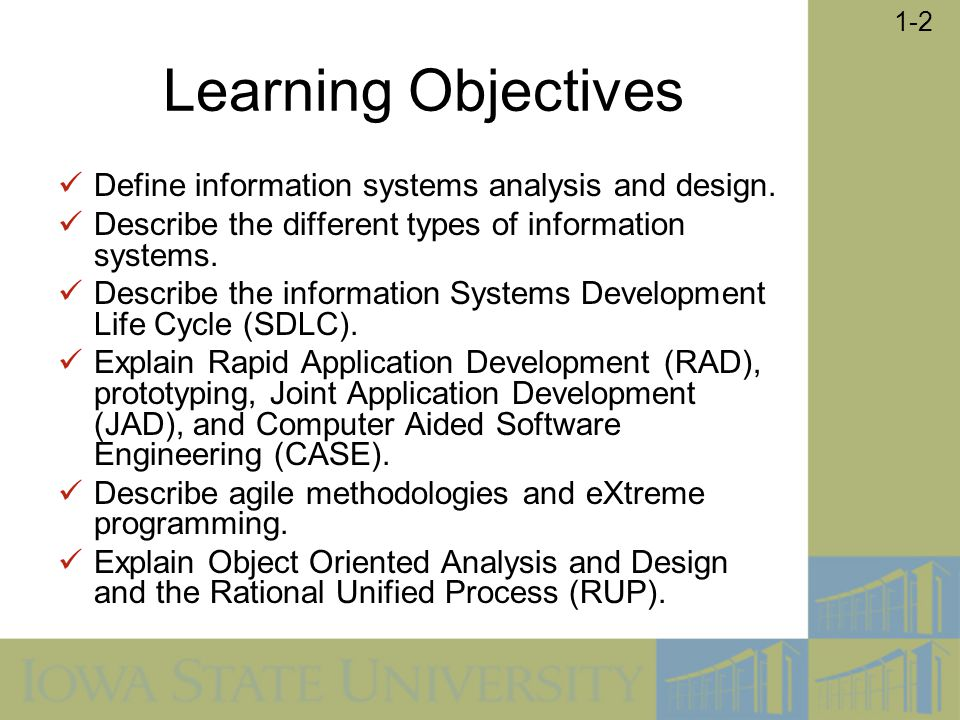 Learning Objectives Define information systems analysis and design.
