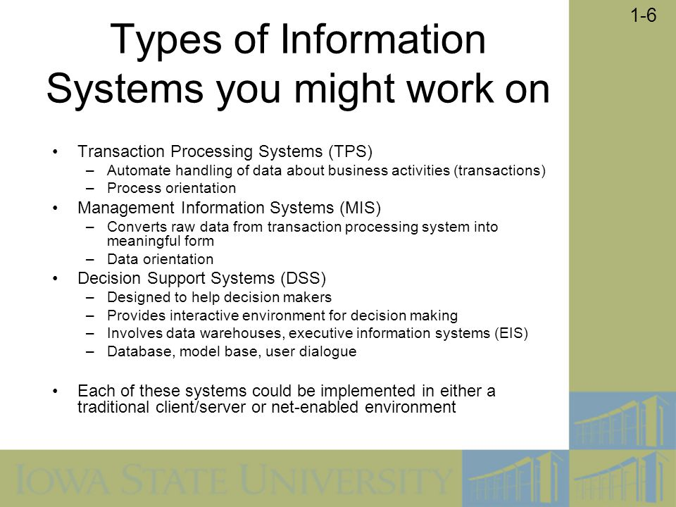 Types of Information Systems you might work on
