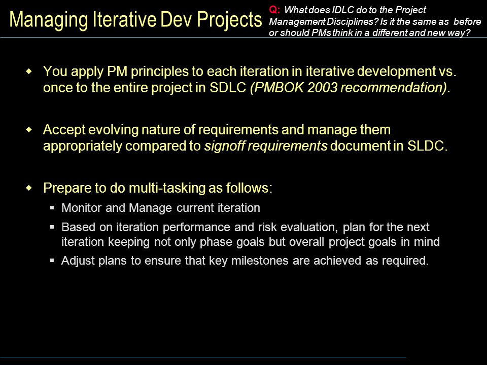 Managing Iterative Dev Projects